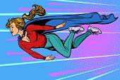 woman superhero flies. female power. pop art retro vector illustration kitsch vintage drawing 50s 60s poster