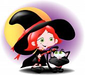 A cute young girl dressed as a witch and trying to tie a red ribbon around her black cat's tail. poster