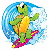 Tropical Turtle having Fun Surfing a Big Wave at the Beach Cartoon. poster
