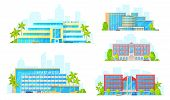Hotel buildings architecture icons. Vector luxury apart hotel, condominium apartments and boutique resort infrastructure with streets and palm trees poster