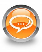 Chat icon on glossy orange round button poster