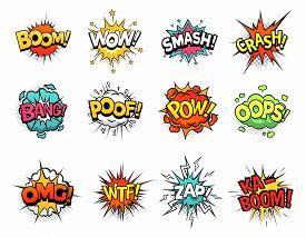 Cartoon Comic Sign Burst Clouds. Speech Bubble, Boom Sign Expression And Pop Art Text Frames. Comics