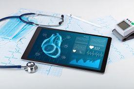 Close up of modern medical diagnostics concept