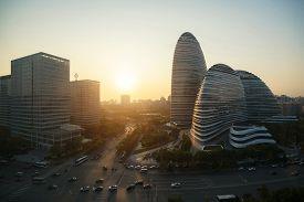 Beijing, China - October 23,2017 : Beijing Cityscape And Famous Landmark Building In Wangjing Soho A