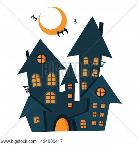 Halloween Haunted House. Vector Silhouette Of A Scary Old House. Mystical Spooky House. Halloween Bl