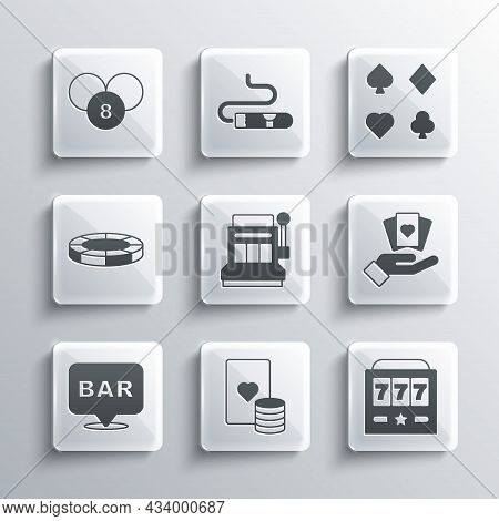 Set Casino Chip And Playing Cards, Slot Machine With Jackpot, Hand Holding, Alcohol Bar Location, Ch
