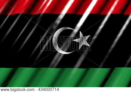 Cute Any Celebration Flag 3d Illustration  - Glossy - Looking Like Plastic Flag Of Libya With Large