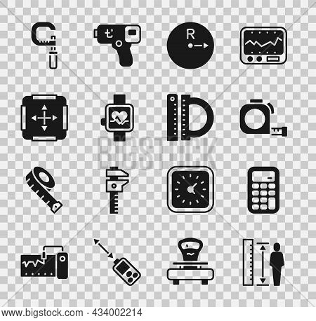 Set Measuring Height Body, Calculator, Roulette Construction, Radius, Smart Watch, Area Measurement,
