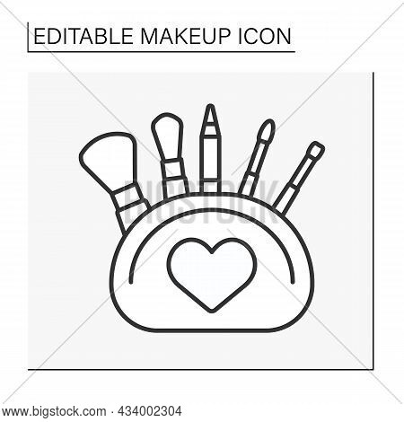 Makeup Kit Line Icon. Fulled Cosmetic Bag With Mascara, Eye Pencil, Brushes And Sponge. Makeup Conce