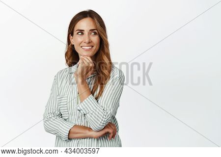 Business People. Ambitious And Confident Businesswoman, Smiling Pleased, Looking Aside Thoughtful An