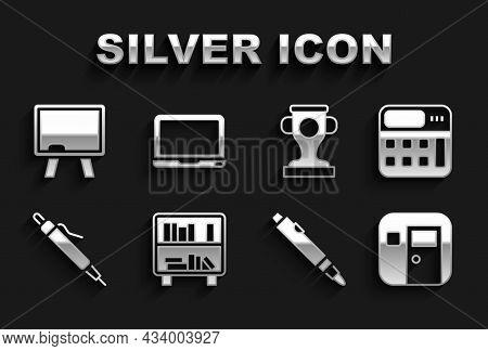 Set Shelf With Books, Calculator, School Classroom, Marker Pen, Pen, Award Cup, Chalkboard And Lapto