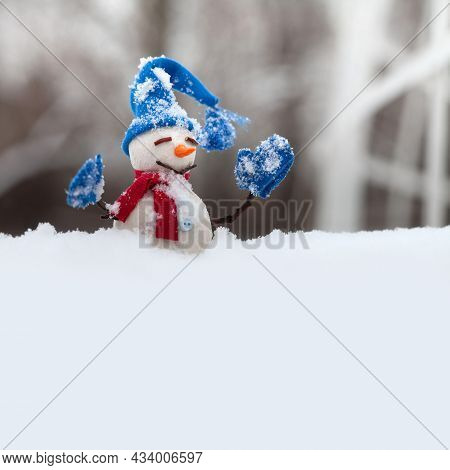Funny Snowman With Hat Red Scarf And Blue Mittens, Snowy Field Copy Space Background. Happy New Year