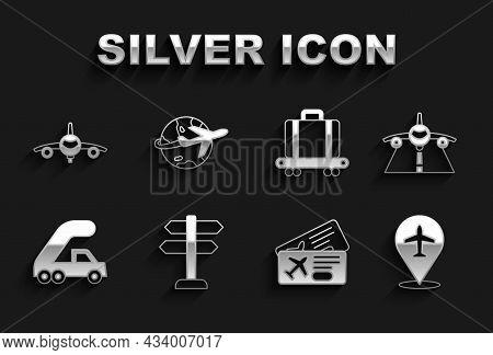 Set Road Traffic Sign, Plane, Airline Ticket, Passenger Ladder For Plane Boarding, Conveyor Belt Wit