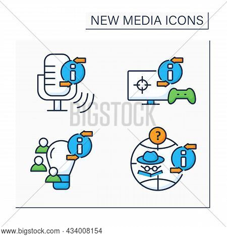 New Media Color Icons Set. Podcast, Video Games, Crowdsourcing. Anonymous Social Network. Informatio