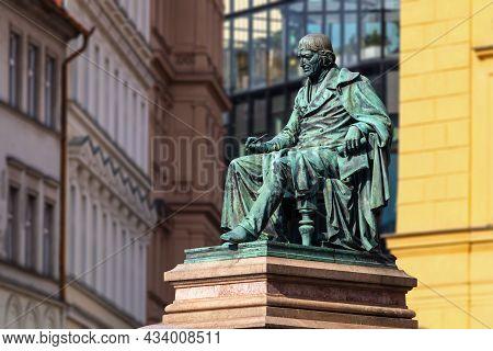 Prague, Czech Republic - 08 13 2021: The Statue Of Josef Jungmann, Czech Poet And Linguist, On Jungm