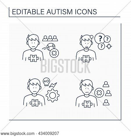 Autism Spectrum Disorder Line Icons Set. Not Engaging In Play With Peers, Self Abusive Behaviors, So