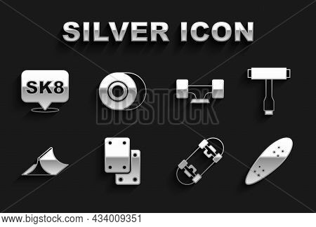 Set Knee Pads, Skateboard T Tool, Longboard Or Skateboard, Park, Wheel, And Icon. Vector