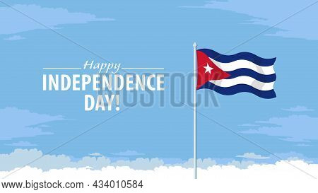 Detailed Flat Vector Illustration Of A Flying Flag Of Cuba In Front Of A Cloudy Sky Background. Happ