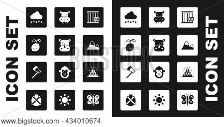 Set Animal Cage, Rhinoceros, Lemon, Cloud With Rain, Mountains, Hippo Or Hippopotamus, Chichen Itza