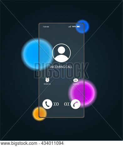 Phone Screen In Glassmorphism Style. Anonymous Call From Unknown Number. Transparent Smartphone With