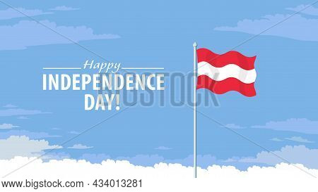 Detailed Flat Vector Illustration Of A Flying Flag Of Austria In Front Of A Cloudy Sky Background. H