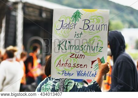 Heidelberg, Germany - 24th September 2021: Sign Saying 'every Tree Is A Piece Of Climate Protection