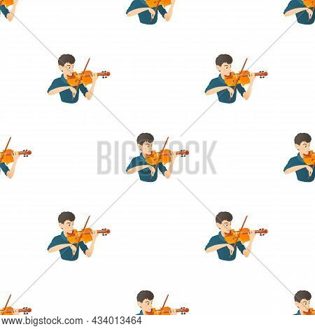 Man Plays On Violin Pattern Seamless Background Texture Repeat Wallpaper Geometric Vector