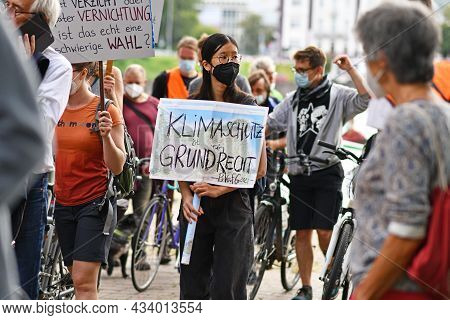 Heidelberg, Germany - 24th September 2021: Young Woman With Sign Saying 'climate Protection Is A Fun