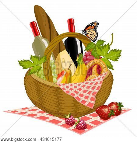 Basket With Products For A Picnic.basket With Wine, Grapes, Bread, Cheese And Fruit For A Picnic In