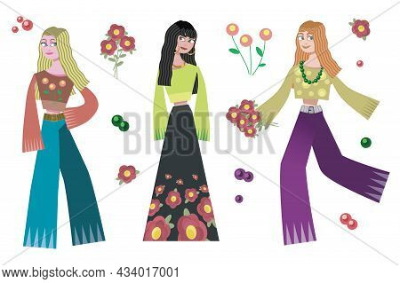 Three Girls Blonde, Brunette And Redhead In Hippie Outfits With Flowers Isolated Vector On White Bac