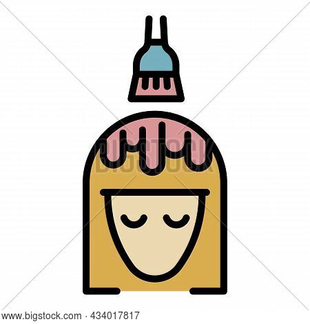 Brush Hair Coloring Icon. Outline Brush Hair Coloring Vector Icon Color Flat Isolated