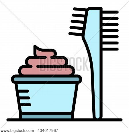 Hair Coloring Cream Icon. Outline Hair Coloring Cream Vector Icon Color Flat Isolated