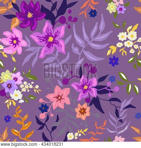 Tropical Floral Pattern. Colorful Graphic Floral Vector Seamless Pattern On A Pink Background. Styli
