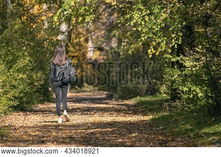 Woman Walks Along An Alley With Fallen Leaves. Lonely Young Woman With Dark Hair Walk Through The Fo