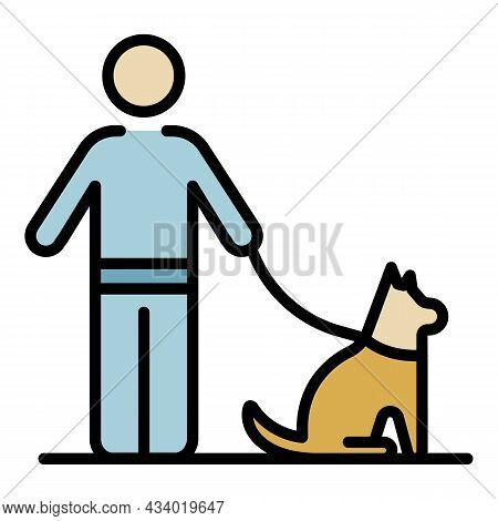 Man Walking Dog Icon. Outline Man Walking Dog Vector Icon Color Flat Isolated