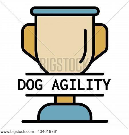 Dog Agility Cup Logo. Outline Dog Agility Cup Vector Logo Color Flat Isolated