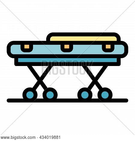 Ambulance Trolley Icon. Outline Ambulance Trolley Vector Icon Color Flat Isolated