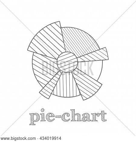 Pie Chart Vector Line Icon. Pie Chart Hand Drawn Icon