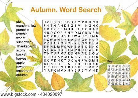Fall Seasonal Crossword Word Search Puzzle, Autumn Watercolor Activities Printable Worksheet For Kid
