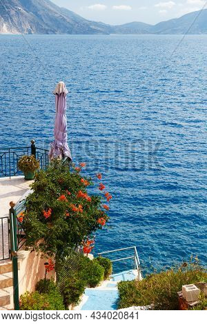 Small Terrace And Traditional Greek Blue Stairs With Sea View In Asos Village. Fantastic Azure Sea W