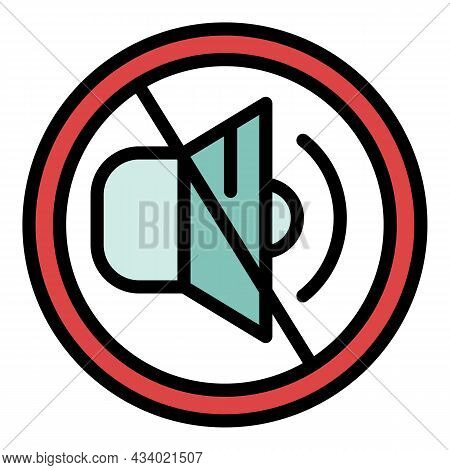 Crossed Out Speaker Icon. Outline Crossed Out Speaker Vector Icon Color Flat Isolated