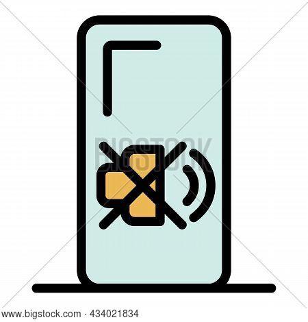 Crossed Speaker Smartphone Icon. Outline Crossed Speaker Smartphone Vector Icon Color Flat Isolated