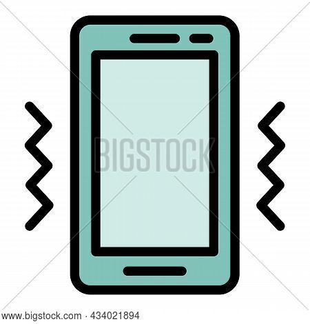 Smartphone Vibro Mode Icon. Outline Smartphone Vibro Mode Vector Icon Color Flat Isolated