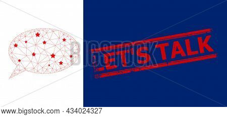 Mesh Chat Cloud Polygonal Icon Vector Illustration, And Red Lets Talk Scratched Rubber Print. Carcas