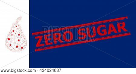Mesh Pear Polygonal Symbol Vector Illustration, And Red Zero Sugar Dirty Stamp Seal. Model Is Based