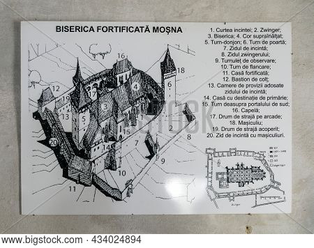 Mosna, Romania-sept 4, 2021: The Plan Of The Fortified Ensemble Of The Evangelical Church Built 1480