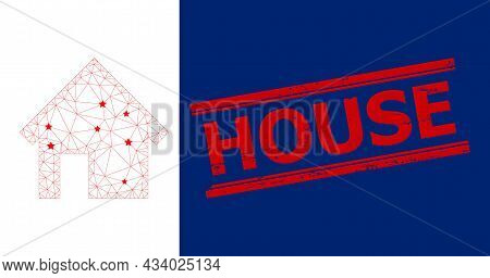 Mesh House Polygonal Icon Vector Illustration, And Red House Rough Rubber Print. Carcass Model Is Cr
