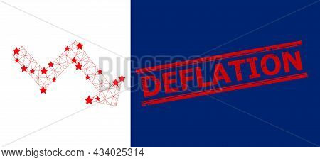 Mesh Recession Arrow Polygonal Symbol Vector Illustration, And Red Deflation Rubber Watermark. Carca
