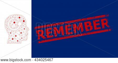Mesh Remember Polygonal Symbol Vector Illustration, And Red Remember Rough Rubber Print. Carcass Mod