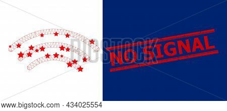 Mesh Radio Waves Polygonal Icon Vector Illustration, And Red No Signal Scratched Watermark. Model Is